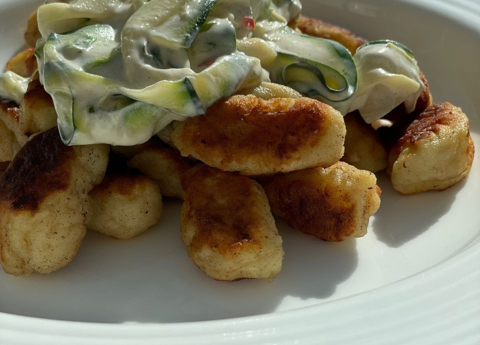 Fried Gnocchi with Courgette, Chilli and Mascarpone