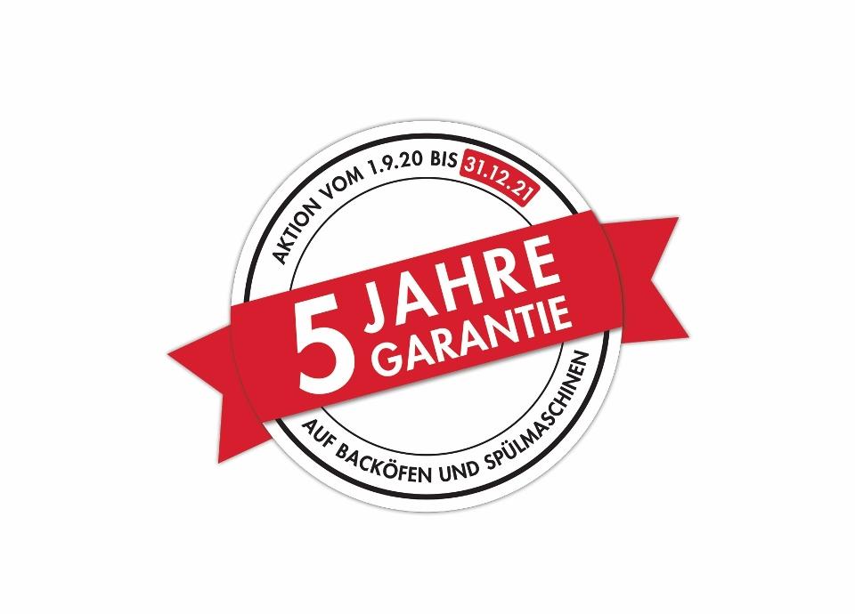 5 Jahre Garantie auf alle Geschirrspüler und 60 und 90 cm breite Einbaubacköfen.