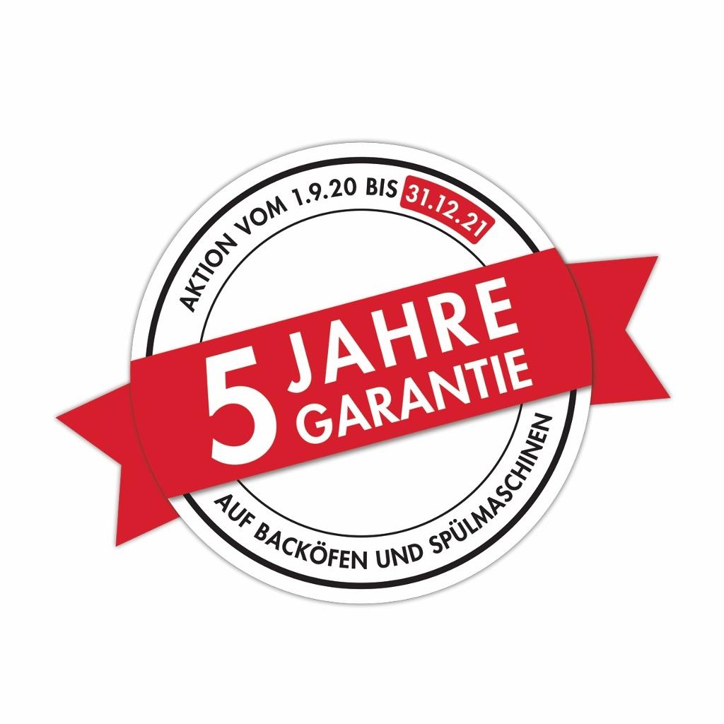 5 Jahre Garantie auf Geschirrspüler und Einbaubacköfen.