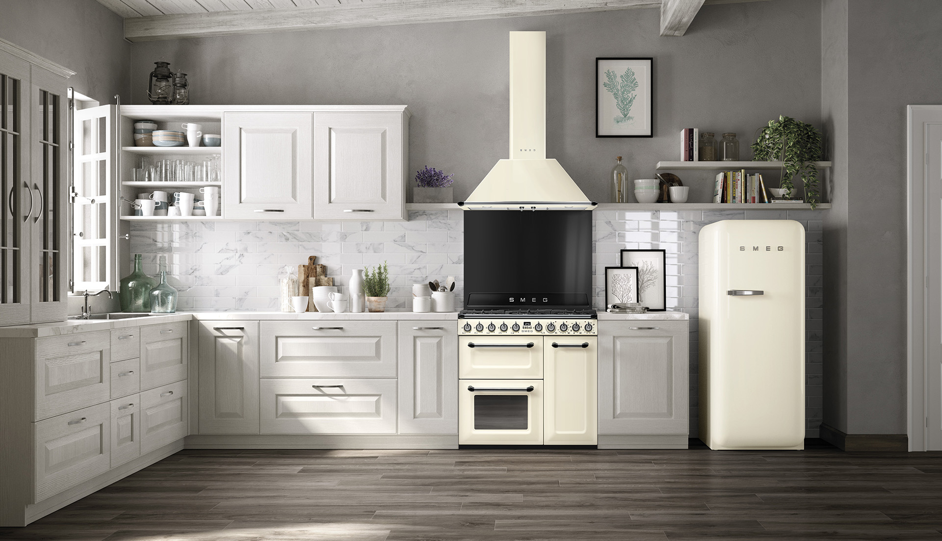 Victoria cream TR93 range cooker and 50's retro style Smeg fridge