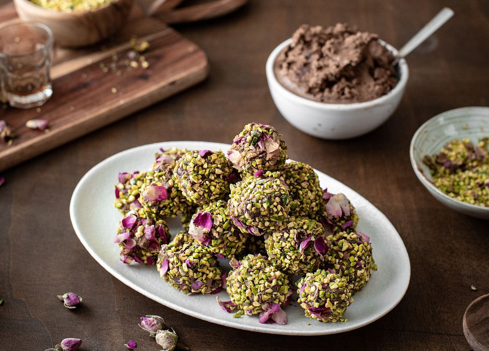 Trufas de chocolate y pistacho